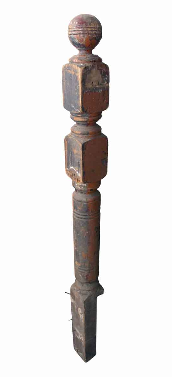 Staircase Elements - Antique Traditional 52 in. Carved Wood Staircase Newel Post