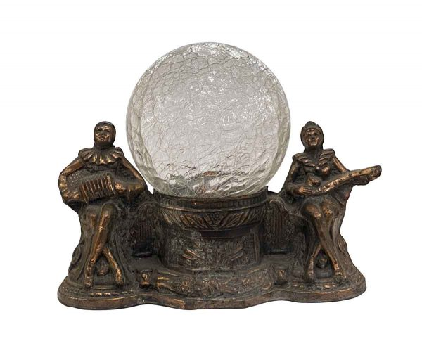 Table Lamps - Vintage Crackled Glass Globe Musician Themed Mantel Table Lamp