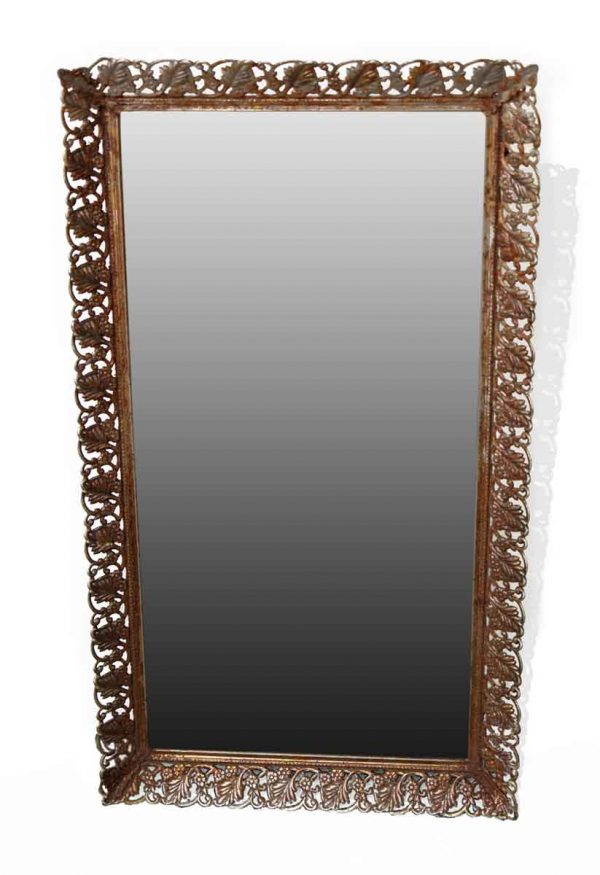 Antique Mirrors - Antique Floral Brass Wall Mirror 22 x 12