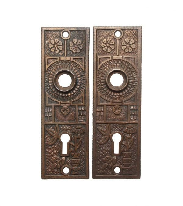 Back Plates - Pair of Aesthetic 5.125 in. Bronze Antique Door Back Plates