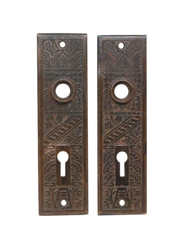 Back Plates - Pair of Antique Aesthetic 5.5 in. Brass Door Back Plates