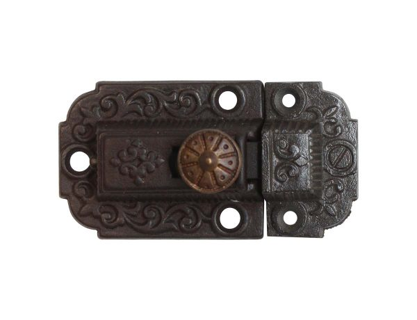 Cabinet & Furniture Latches - Antique Victorian Cast Iron 3 in. Cabinet Latch with Brass Knob
