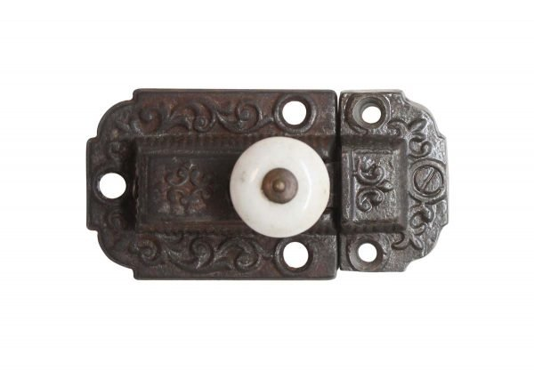 Cabinet & Furniture Latches - Victorian Cast Iron 3 in. Cabinet Latch with Porcelain Knob