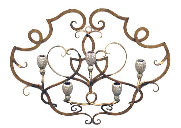 Candle Holders - Vintage French Wall Mount Metal Candle Holder