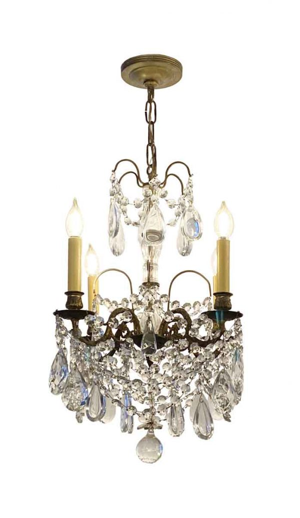 Chandeliers - 1910s Petite Crystal & Bronze 4 Arm French Chandelier