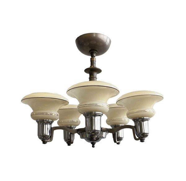 Chandeliers - Art Deco Copper Finished 5 Arm Shaded Chandelier