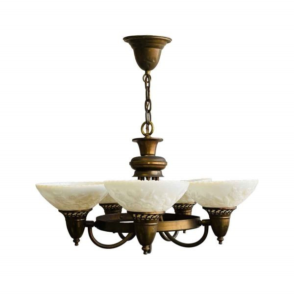 Chandeliers - Copper & Brass Art Deco 5 Light Chandelier with Floral Glass Shades