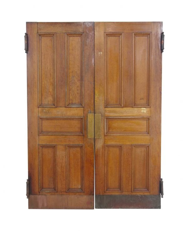 Commercial Doors - Antique 5 Pane Quarter Sawn Oak Swinging Double Doors 91.75 x 65