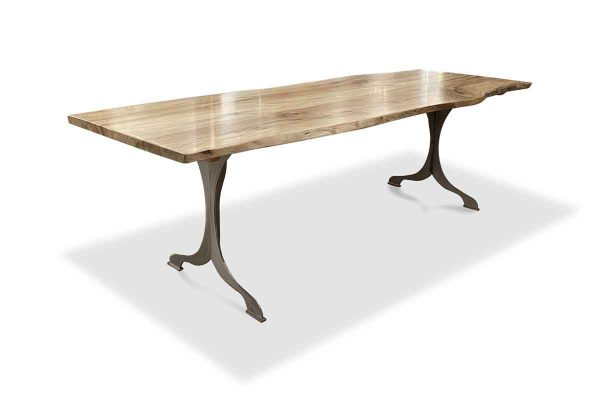 Floor Model Tables - Live Edge Sycamore Table with Brushed Steel Wishbone Legs