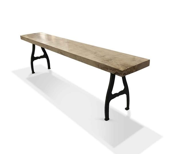 Floor Model Tables - Solid Maple 5.5 ft Bench with Cast Iron Industrial Legs