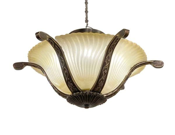 Flush & Semi Flush Mounts - Modern Semi Flush Swirl Glass & Brass Flush Mount Light