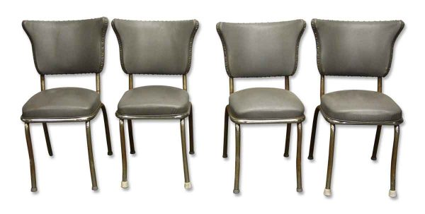 Kitchen & Dining - Set of 1950s Steel Studded Gray Retro Diner Chairs