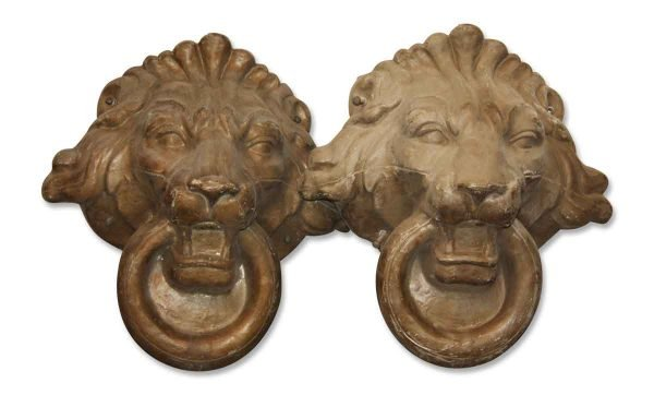 Other Wall Art  - Pair of 18 in. Bronze Composite Lion Heads