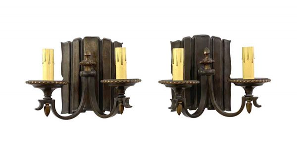 Sconces & Wall Lighting - Restored Traditional Bronze 2 Arm Wall Sconces