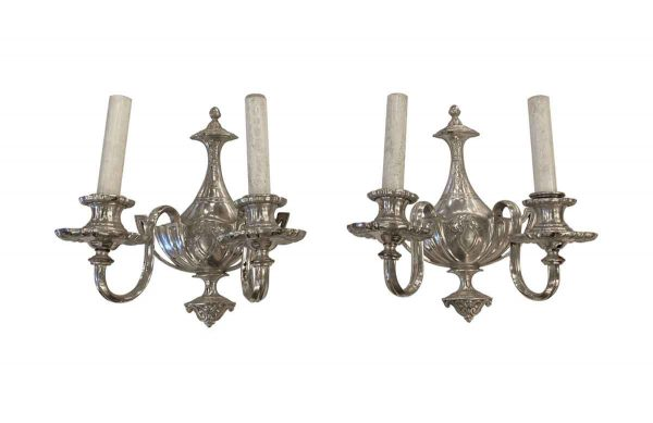 Sconces & Wall Lighting - Restored Victorian Silver Plated Cast Brass 2 Arm Wall Sconces