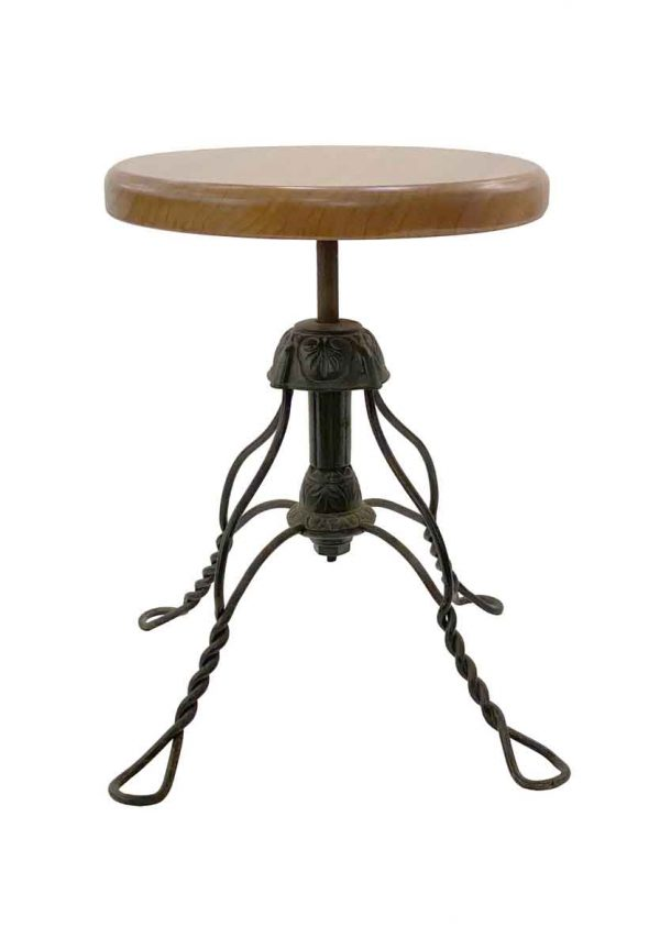 Seating - Adjustable Wrought Iron Stool with Wood Seat