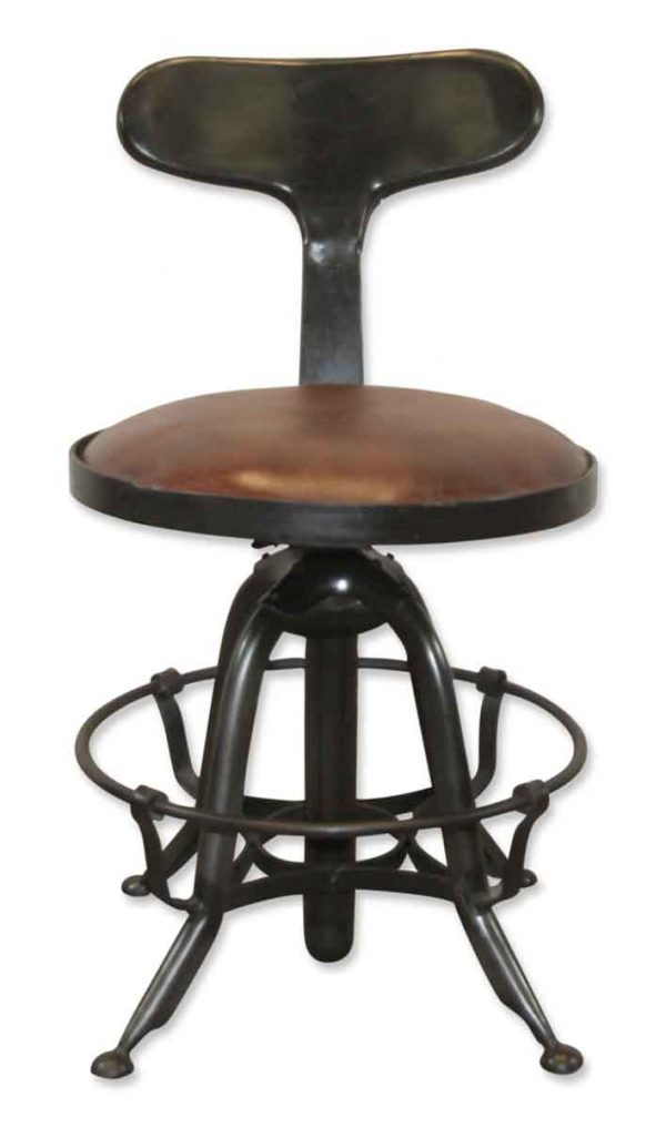 Seating - Newly Made Black & Leather Like Rustic Bar Stool