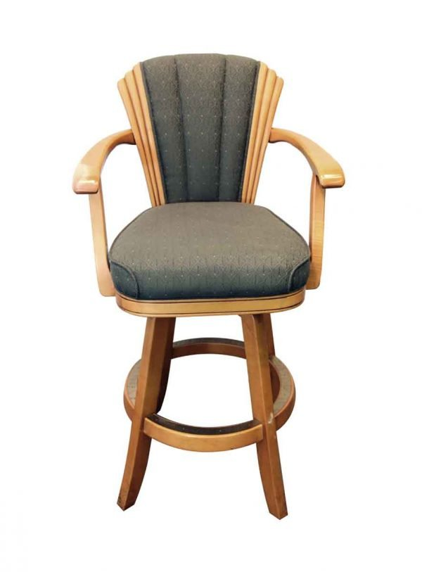 Seating - Vintage Art Deco Style High Back Wood Bar Chair