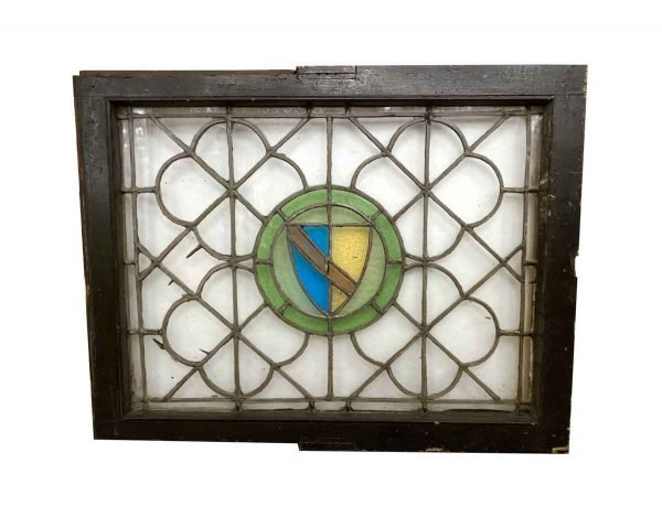 Stained Glass - Leaded Stained Glass Shield Motif Quatrefoil Window 31.5 x 25