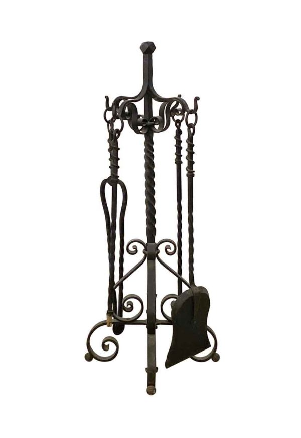 Tool Sets - Hand Hammered Wrought Iron Set of Fireplace Tools