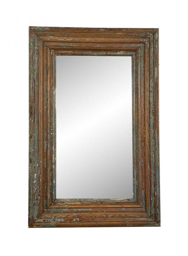 Wood Molding Mirrors - 1800s Distressed Wood Molding Wall Mirror 58 x 38