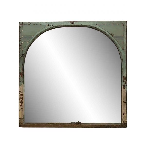 Wood Molding Mirrors - Arched Copper & Wood Window Mirror 60.25 x 59.5