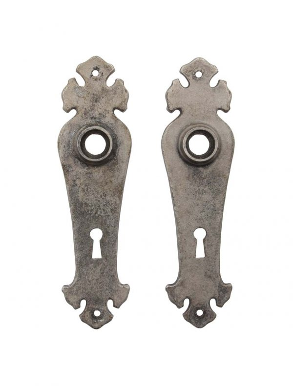 Back Plates - Arts & Crafts Iron 6.625 in. Nickel Plated Door Back Plates