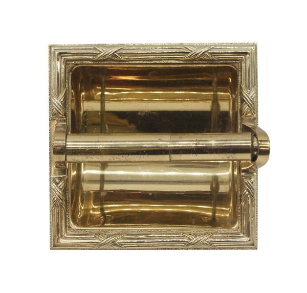 Bathroom - Brass Recessed Toilet Paper Holder with Mounting Plate