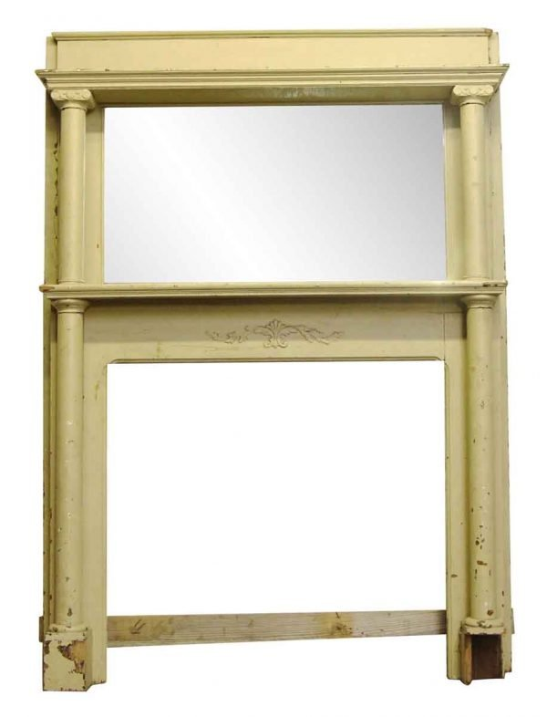 Mantels - Salvaged Antique 83 in. Tan Mirrored Mantel