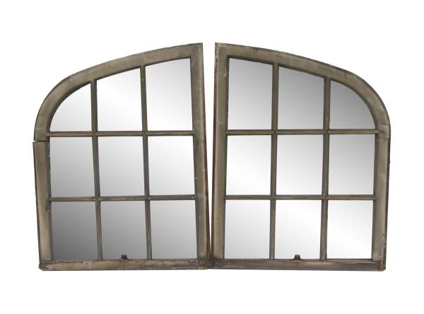 Reclaimed Windows - Pair of 9 Pane Windows with Gothic Arched Frame 36.5 x 56