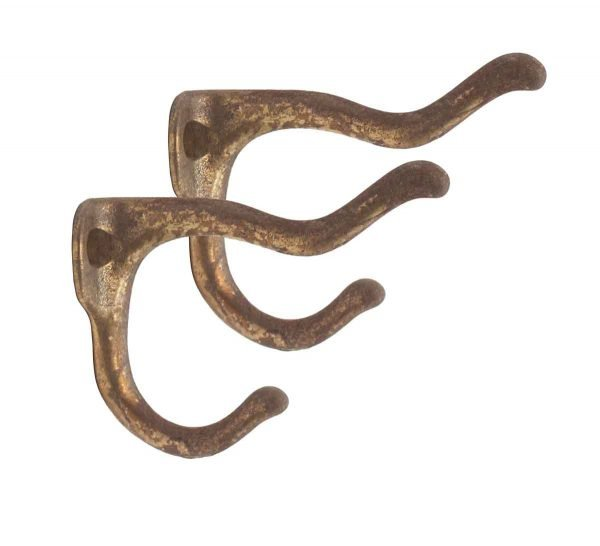 Single Hooks - Pair of Curved Patina Brass Double Arm Wall Hooks