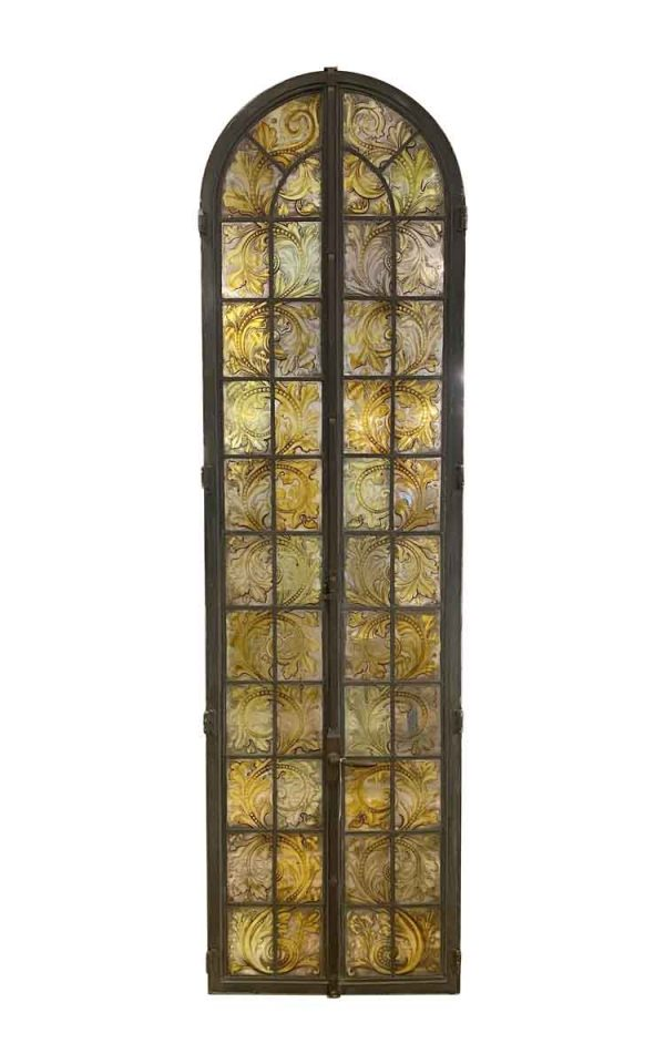Stained Glass - Antique Bronze Arched Top Stained Glass Casement Window
