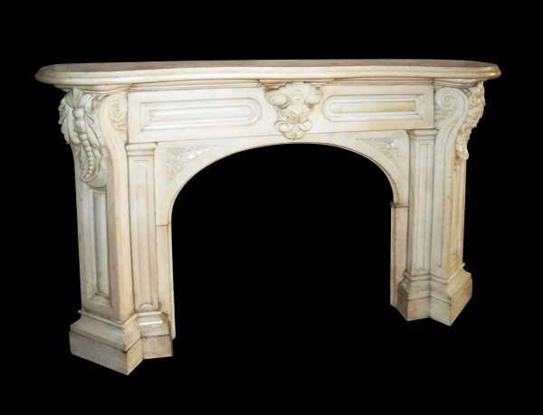 Mantels - 19th Century Heavily Carved Statuary White Marble Mantel