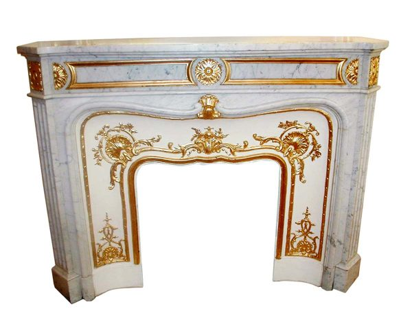 Marble Mantel - Plaza Hotel Gold Detailed Carrera Marble Mantel