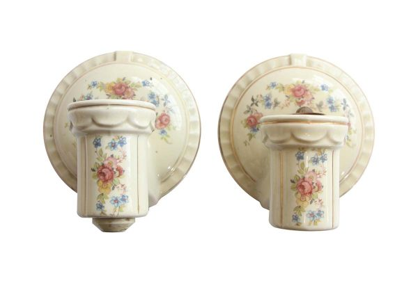 Sconces & Wall Lighting - Pair of Vintage White Ceramic Floral Bathroom Wall Sconces