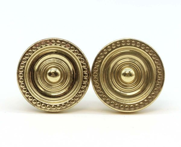 Cabinet & Furniture Knobs - Pair of Polished Brass Concentric Beaded Cabinet Knobs