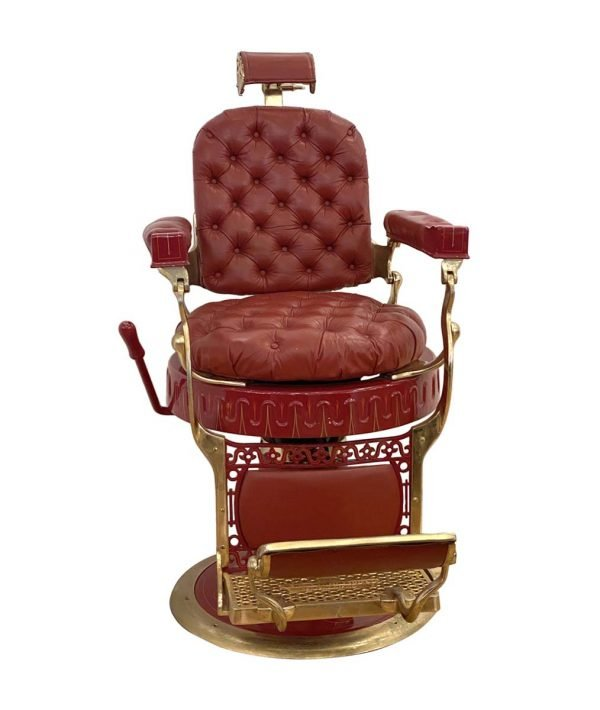Commercial Furniture - Restored Berninghaus Hercules Red Barber Chair with Custom Detailing