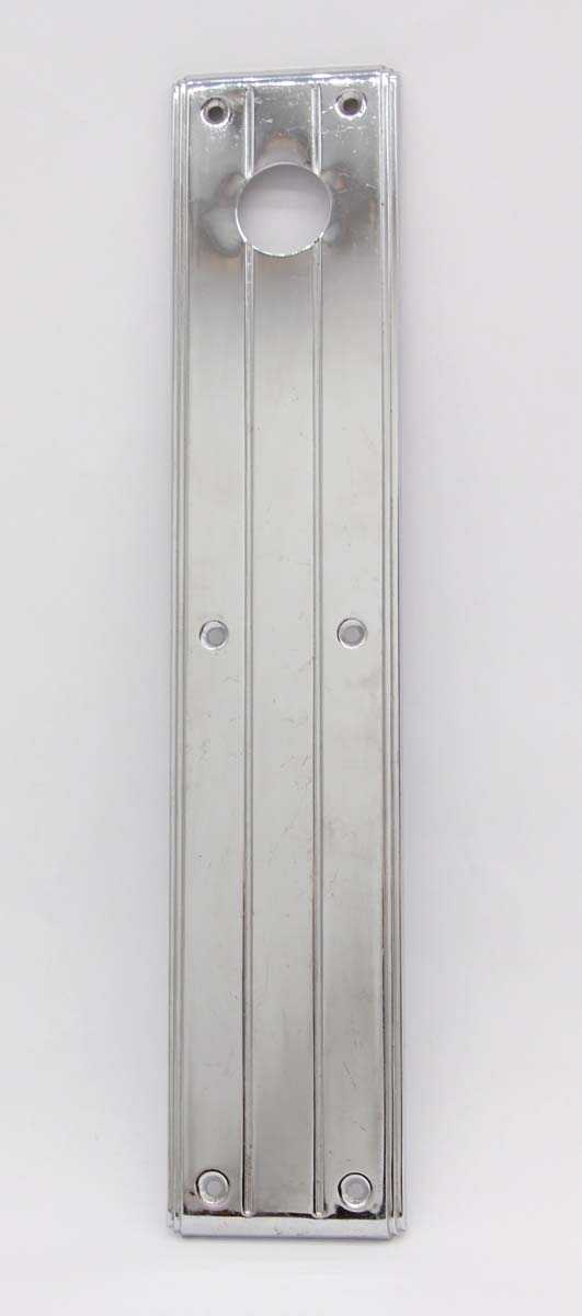 Push Plates - Vintage Chrome 15 in. Art Deco Door Push Plate with Lock Insert