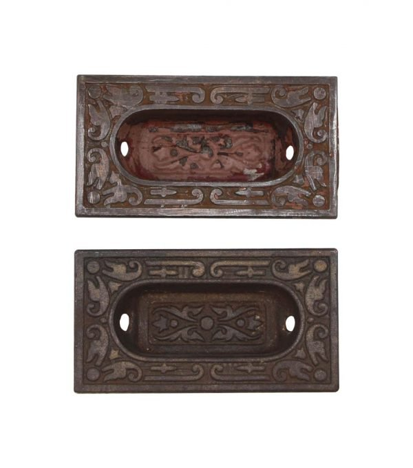 Window Hardware - Pair of Aesthetic Sargent Recessed Cast Iron Window Sash Lifts