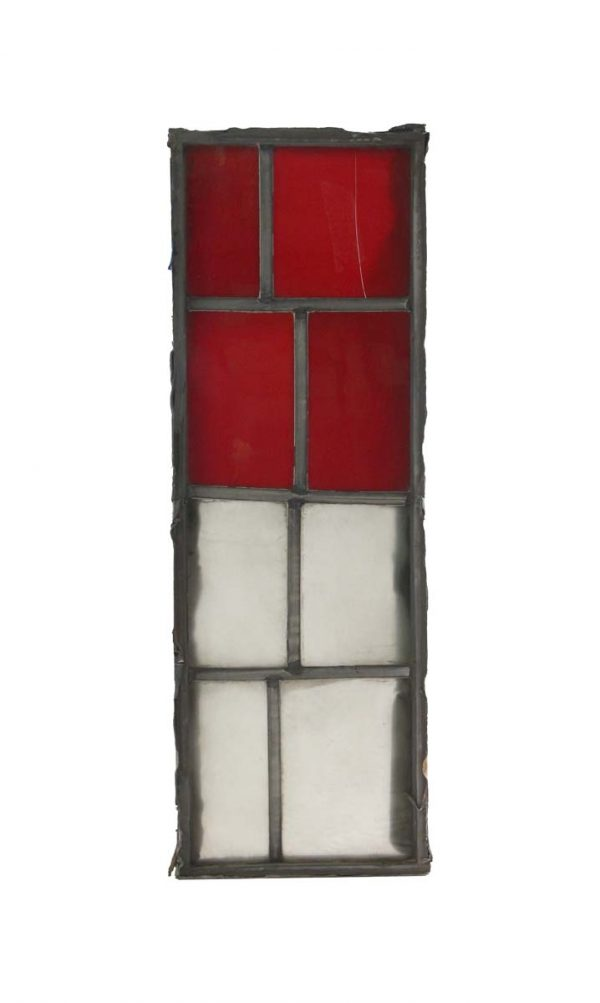 Exclusive Glass - Robert Sowers Mid Century JFK Red & White Stained Glass Window