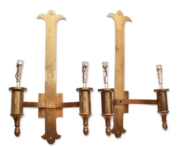 Sconces & Wall Lighting - Pair of Tall Ecclesiastical Brass 2 Arm Wall Sconces