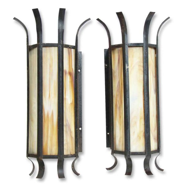 Sconces & Wall Lighting - Pair of Vintage Modern Stained Glass Iron Wall Sconces