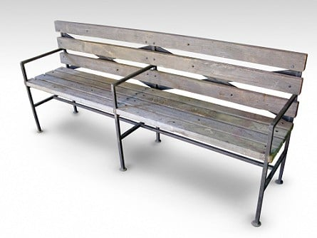Bench made from salvaged planks of Brazilian walnut